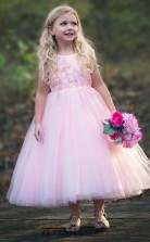 Pink Round A Line Neck Kids Prom Dress ACH006
