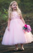 Pink Round A Line Neck Kids Prom Dress ACH006