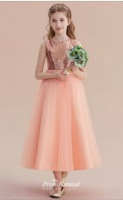 Princess Jewel Sleeveless Nude Pink Sequined Tulle Floor-length Children's Prom Dress(AHC064)