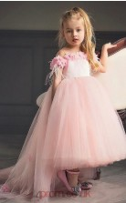 Pinky High Low Girls Prom Dress with Flowers BCH005
