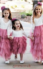 Chic Long Sleeves Pink Flower Girl Dress with Lace BCH007