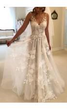 Romantic Ethereal V-neck Floral A-line Lace Wedding Dress Petite Brides BWD162