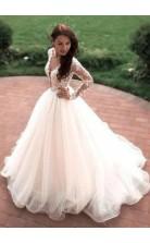 A Line V Neck Long Sleeve Lace Celebrity Wedding Dress BWD199