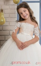 Ball Gown Half Sleeve Kids Prom Dress for Girls CH0103