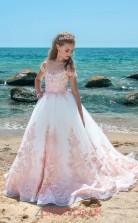 Square Sleeveless Pink Kids Prom Dresses CHK024