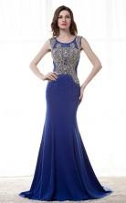 Royal Blue Satin Chiffon Trumpet/Mermaid Scoop Sleeveless Prom Dresses(JT4-CZM180)