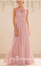 Blush Pink High-Neck A Line Lace Bridesmaid Dress with Keyhole Back - EBD031