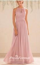 Blush Pink High-Neck A Line Lace Bridesmaid Dress with Keyhole Back - EBD031