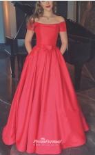 Elegant Chic Red Off-The-Shoulder Floor Length Satin Prom/Bridesmaid Dress - EBD052