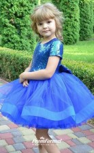Lovely Spring Summer Sequins Short Sleeves Toddler Christmas Fancy Dress With Bow Birthday Party Dress for Weddings Aged 2-10 Years FGD456