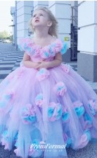 3D Flower Girls Dress Baby Girl Toldders Communion Dresses Ball Gowns Off Shoulder Birthday Pageant Party Gown FGD465