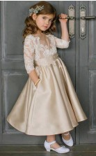 Champagne Mother Daughter Dress Long Sleeves Satin Ankle Length Flower Girls Pageant Dress FGD467