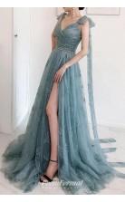 A Line Bow Tie Straps Party Dress Lace High Split Prom Dress JTB2021