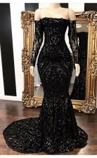 Off-the-shoulder Long Sleevess Mermaid Sweep Train Prom Dress JTC002