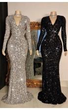 Sexy V Neck Silver Black Crystal Sequins Long Sleevess Mermaid Prom Dress JTC003