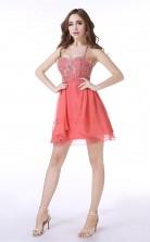 Watermelon  Chiffon Sequined A-line Sweetheart Sleeveless Cocktail Dress(JT4-LFDZD004)