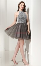 Dim Grey Tulle Sequined Princess Halter Sleeveless Cocktail Dress(JT4-LFDZD134)