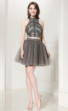 Dim Grey Tulle Sequined A-line Halter Sleeveless Two Piece Prom Dresses(JT4-LFDZD135)