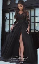 Slit A Line Black Long Sleeves Off-the-Shoulder Sweet 16 Prom Dresses Applique Dresses SDP001