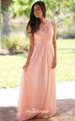 Cheap In Stock Elegant Long Lace Bridesmaid Dresses Sleeveless Plus Size Sheer Back Evening Dress UKCPS489