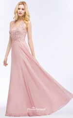 Cheap In Stock Halter Neck Pearls Lace Pink Evening Dresses Sexy Illusion Bridesmaid Dresses UKCPS912