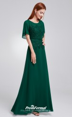 Green Short Sleeve Bridesmaid Dresses 4MBD010