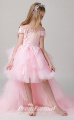 Off the Shoulder Pink Kids High Low Pageant Dress BCH014
