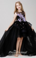 Princess Black Girls High Low Pageant Dress BCH017