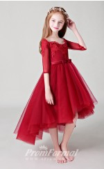 Red Girls High Low Party Dresses with Half Sleeves BCH018