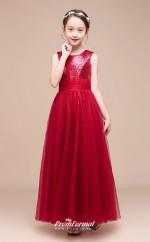 Affordable Burgundy Jewel Junior Bridesmaid Dress Floor-length Pageant Dress BCH047