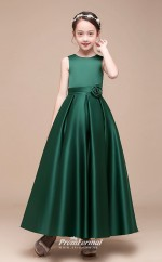 Affordable Dark Green Jewel Junior Bridesmaid Dress Floor-length Pageant Dress With Handmade Flowers BCH049