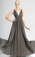 Silver 100D Chiffon A-line V-neck Long Evening Dress-(BD04-536)