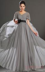 Silver 100D Chiffon A-line V-neck Floor-length Prom Dress(BD04-538)