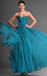 Ocean Blue 100D Chiffon A-line Sweetheart Strapless Long Evening Dress-(BD04-544)