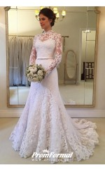 Charming Long Sleeves Lace Mermaid High Neck Dubai Wedding Gowns Petite Brides BWD043