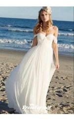 Simple Summer Flowy Casual Bride Dresses for Beach Wedding BWD090