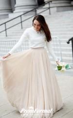A Line Champange Long Sleeve Two Piece Wedding Dress City BWD205