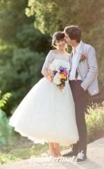 A Line Tea Length Wedding Dress 1950s Vintage Outdoor Wedding Dress BWD208