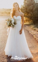 Sweetheart A-line Lace Country Summer Wedding Dress BWD210