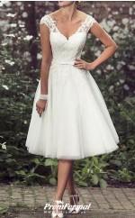 A-Line V Neck Tea Length Lace Tulle Vintage Beading Wedding Dress BWD230