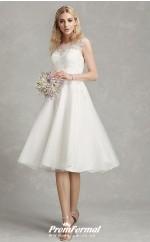 Rockabilly Tea Length Lace Cap Sleeve Beautiful Back Outdoor Wedding Dress BWD235