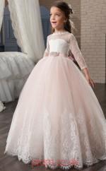 Jewel 3/4 Length Sleeve Candy Pink Kids Prom Dresses CHK002