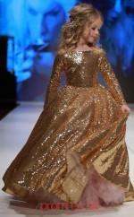 Jewel Long Sleeve Gold Kids Prom Dresses CHK003