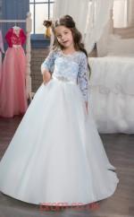 Jewel Long Sleeve Sky Blue Kids Prom Dresses CHK017
