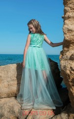 Jewel Sleeveless Mid Turquoise Kids Prom Dresses CHK025