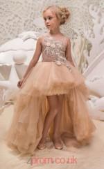 Illusion Sleeveless Sandy Brown Kids Prom Dresses CHK032