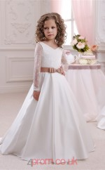 V Neck Long Sleeve White Kids Prom Dresses CHK048