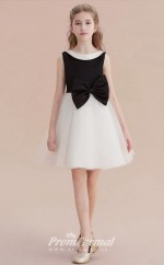Short Kids Girls Black & White Formal Dresses with Bows CHK164