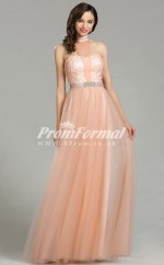EBD011 Tulle Halter Coral Bridesmaid Dresses