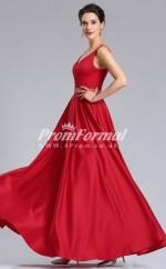EBD022 V-neck Ruby Bridesmaid Dresses with Beaded Waistline